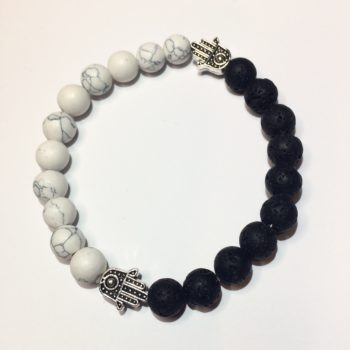 Howlite & Lava Rock Bead Bracelet
