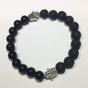 Obsidian, Lava Bead and Hand of Fatima Handmade Bracelet