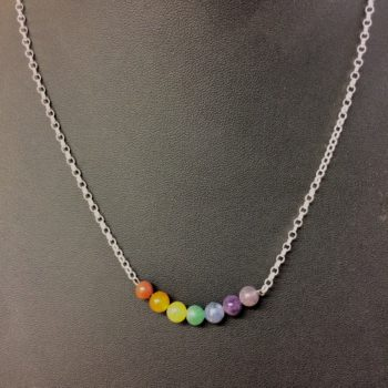 Rainbow 6mm 925 sterling silver gemstone necklace