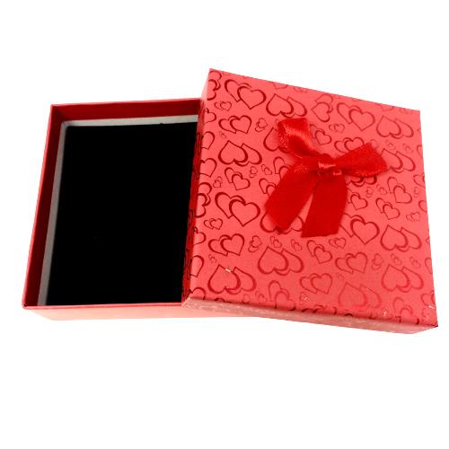 Red Heart Patterned Bracelet Box