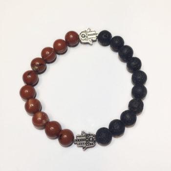 Red Jasper & Lava Rock Bead Bracelet