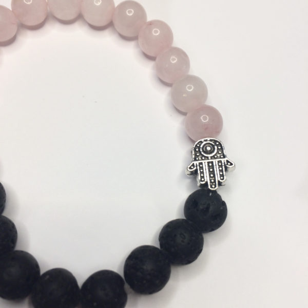 Rose Quartz & Lava Rock Bead Bracelet