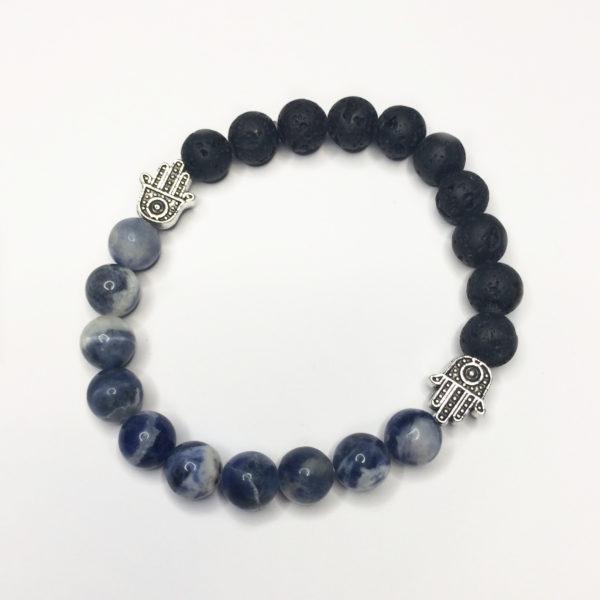 Sodalite & Lava Rock Bead Bracelet