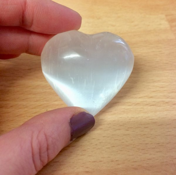Selenite crystal heart gemstone