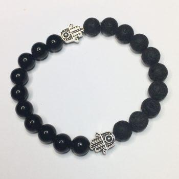 Onyx, Lava Bead and Hand of Fatima Handmade Bracelet