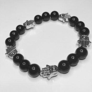 Onyx 3 bead, hand of fatima hamsa bracelets
