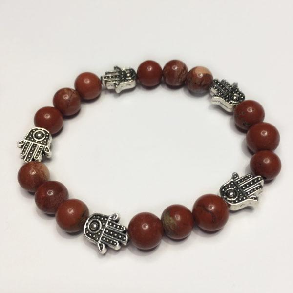 A Red Jasper gemstone bead bracelets with five silver Hand of Fatima beads