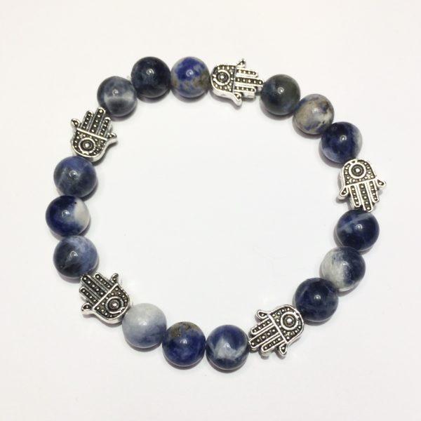 A blue sodalite gemstone bead bracelets with five silver Hand of Fatima beads