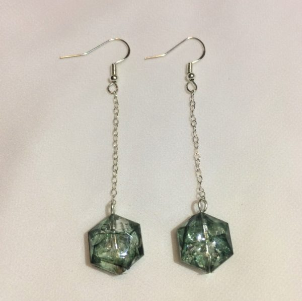 Hook earrings with chain which holds green crackle effect beads